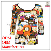 OEM garment factory direct cartoon model printed round neck new pattern t-shirts