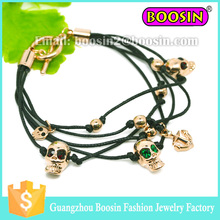 Fashion sliding skull bracele, adjustable leather men make bracelet, vintage christian bracelet wholesale #31462