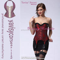 fashionable red lace up garter belt locking corset