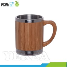 stainless steel thermal barrel bamboo coffee mug with handle