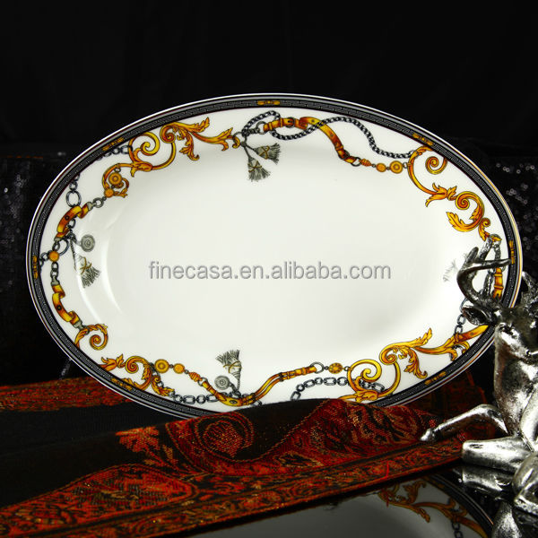 12 Inches Luxury Fine Bone China Engraved Dinner Plate of Knight