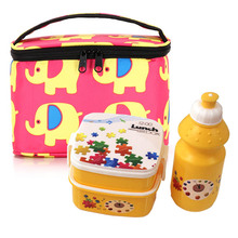 outdoor school lunch set Water bottle round square plastic lunch box with bag