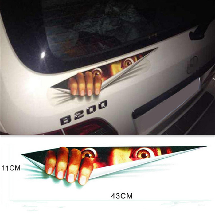 43*11cm Funny Car Sticker 3D Eyes Peeking Voyeur Car Hoods Trunk Thriller Rear Window Decal