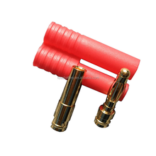 HXT 4mm Connector 4.0mm Gold Bullet Connector Plug with Protector Housing red Cover