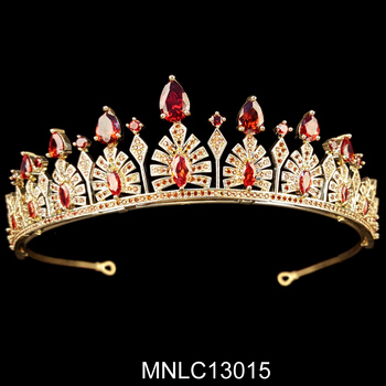 Hot selling fashion bling zircon bridal gold wedding crown
