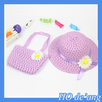 sunflowers Hand-knitted hat,sun cheap straw baby hat,kids straw hat with hand bag suit