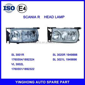 TRUCK HEAD LAMP LIGHT 1760554 1892324 1760551 1892322 FOR SCANIA R SERIES