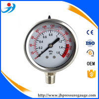 2.5 inch 63m pressure gauge stainless case and process connection 1/2NPT