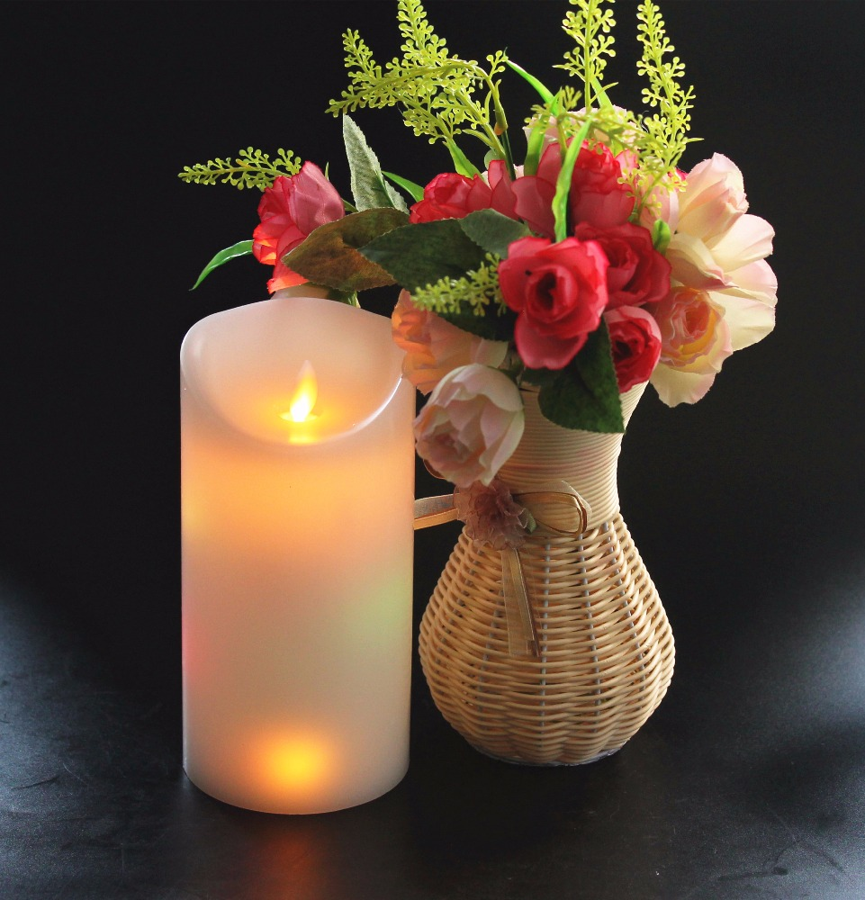 Customizable surface smooth colorful candle light dancing flame LED candles for home decoration