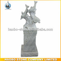 New Kashmire White Granite Three Carving Dolphins on Pedestal Tombstone and Monument