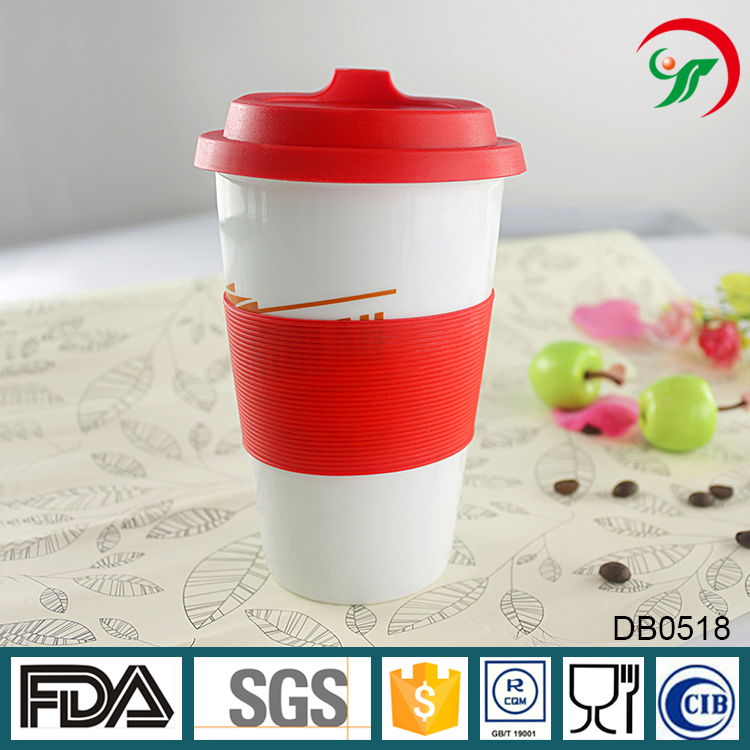 Promotional porcelain insulated double wall coffee cup with silicone lids