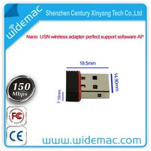 The samllest 802.11n 150Mbps nano usb wireless wifi network adapter perfect support AP function