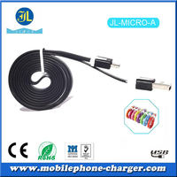 Colorful Flat Micro USB cable for smartphone, usb charger cable made in China