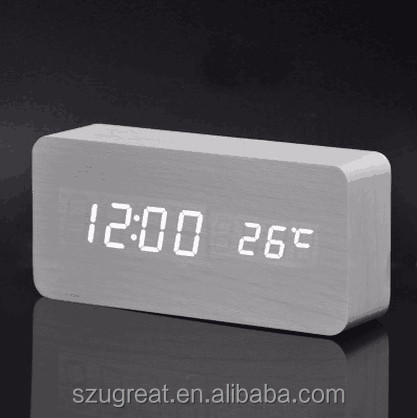 Desktop Table Clocks Digital LED rectangle Alarm Wood Wooden clock with temperature display and voice control function