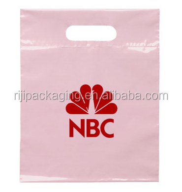 Customized colorful printed Top Fold Over Patch Handle Die Cut Bag use in shopping mall