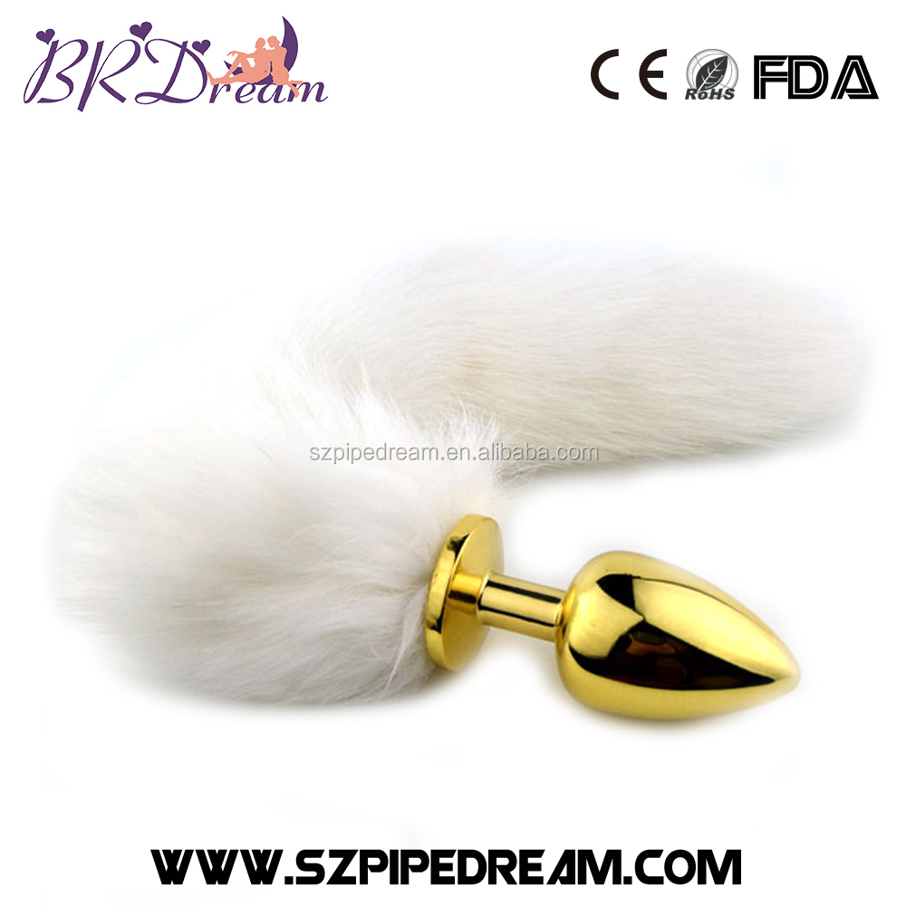 95*41mm golden metal stainless steel white fox tail anal plug ass plugs dog tail Butt plug