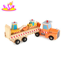 New hottest children construction vehicle wooden toy car carrier for kids W04A357