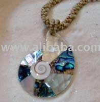 Paua & Nautilus Shell Necklace Beige BEads