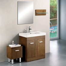 Rubber Wood Bathroom Cabinet with Makeup Storage Cabinet