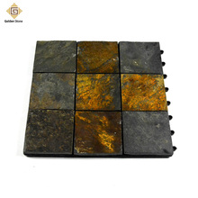 Chinese popular mosaic culture slate with split surface