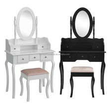 Wooden Painted White and Stained Black Dressing Table with Mirror and Stool