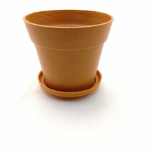 wholesale supply biodegradable plant fiber flower pot with plate