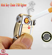 Portable mini car shape windproof Electronic USB Rechargeable Lighter with keychain