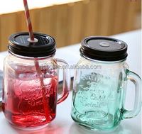 colorful 350ml glass mason jar with handle and straw lid wholesale
