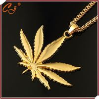 Charm with CZ paved Leaf Shaped Vintage 18K Golden Yellow Necklace