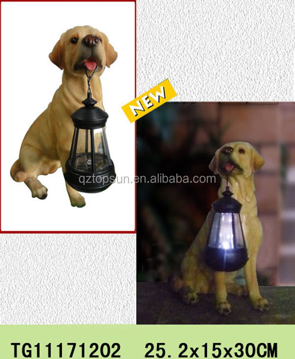 High quality resin craft dog statue with solar light for home and garden