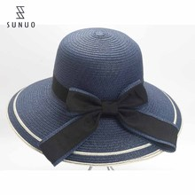 Cheap Custom Ladies Summer Floppy Paper Straw Hat For Sun-Proof