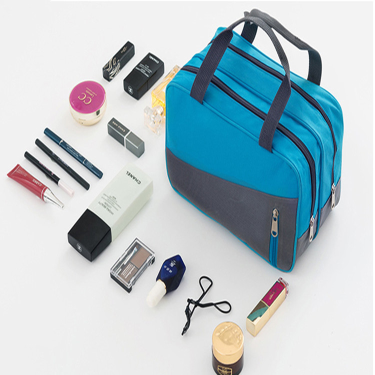 Large Capacity For Women Cosmetics Portable Pouch With Dual Compartment Toiletry Bag