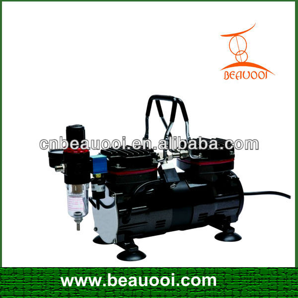 1/3 hp Twin cylinder airbrush compressor silent oil free mini air compressor for make up