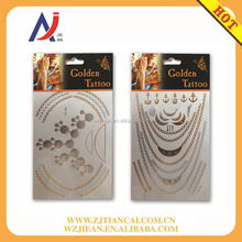 Temporary water transfer custom body art 3d women 280 special design gold and white tattoo sticker manufacturer