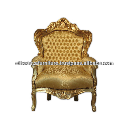 Gold pattern baroque royal armchair