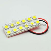 12 pieces SMD 5050 3 chips with T10, BA9S, ans spring connectors, 12V DC, auto led dome light, plate light