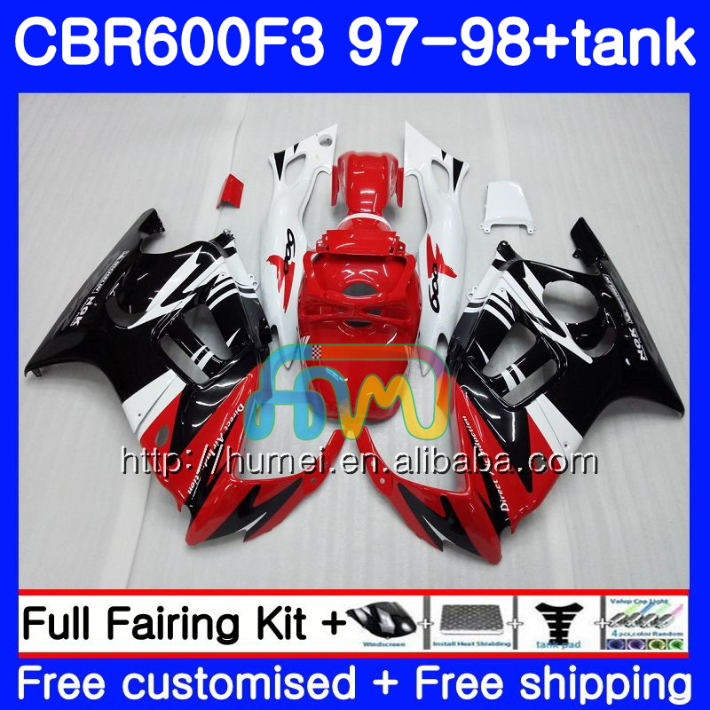 Body kit For HONDA CBR600RR F3 CBR 600F3 CBR600FS red black 14HM54 CBR 600 F3 FS CBR600F3 97 98 CBR600 F3 1997 1998 Fairing