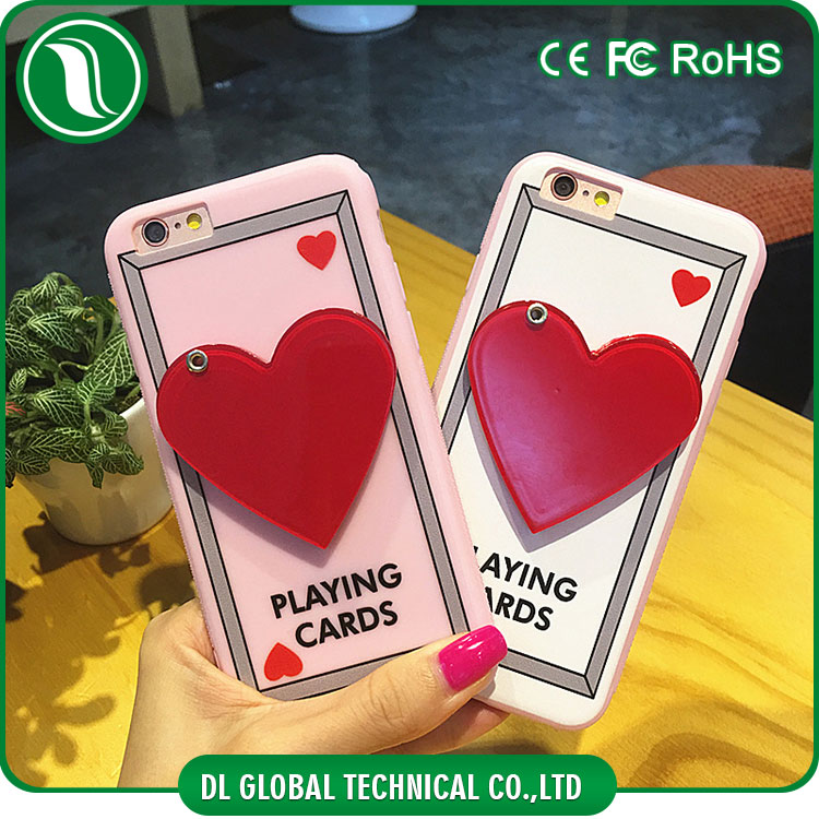Beautiful ladies mobile phone mirror case for iphone 6s plus with red heart shape mirror mobile phones tpu case