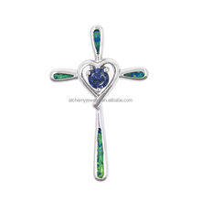 New Style custom jewelry Wedding Gift Sterling Silver 925 Handmade necklace Jerusalem Opal Cross Pendant with stone