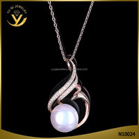 Classic Style Round Pearl Gold Long Chain Necklace Silver Can Be Customized