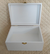 white wooden box with hinged lid storage box with lacquer