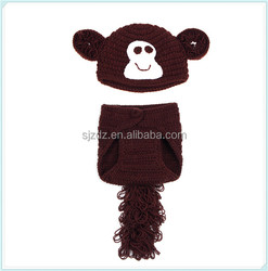 Newborn Infant Crochet Knit Hat Suit Monkey With Tail Photo Photography Props For Baby