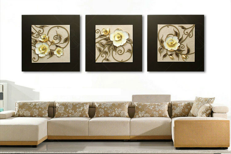 Wall art hanging 3d resin relief painting for flower