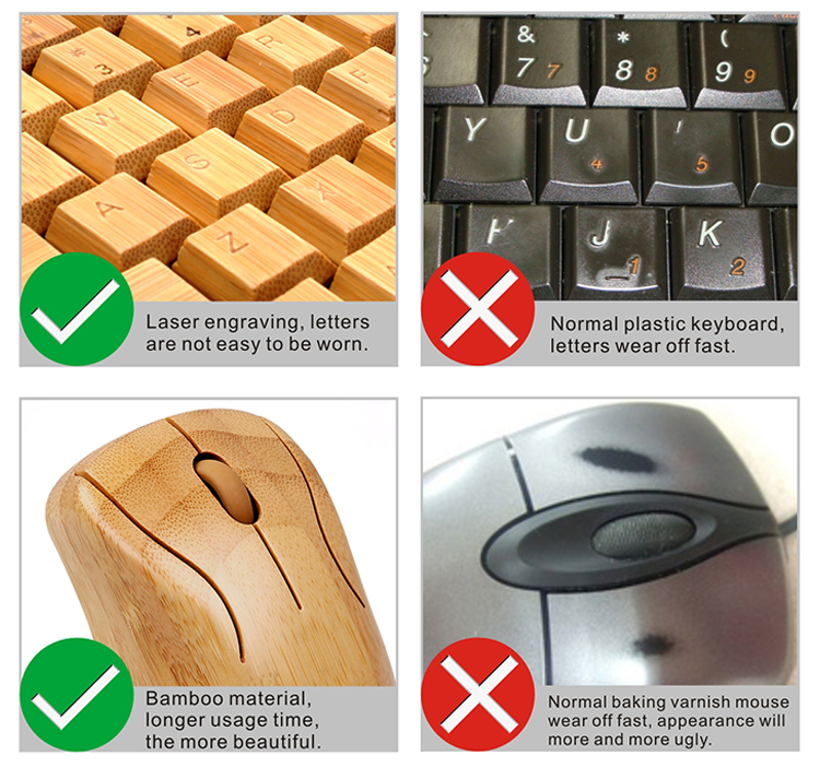 Best hot bamboo new 2.4G usb wireless keyboard and mouse combo