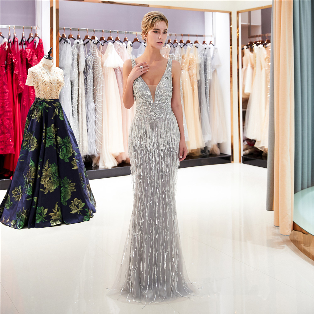 Elegant Appliques  Crystal Evening Dresses 2018 Beaded Lace 3D Floral lace sequined party Prom Dresses