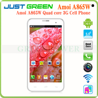 Fast delivery Amoi A865W 5inch android 4.2 quad core Wi-Fi bluetooth GPS dual sim low price china mobile phone