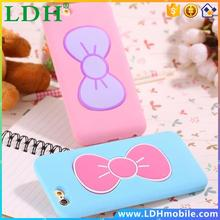 I6/I6 Plus Candy Color Lovely 3D Butterfly Bow Soft TPU Silicon Case For Iphone 6 / 6 Plus Slim Stand Holder Back Cover Capa