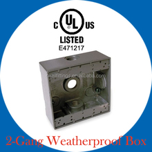 UL listed two gang weatherproof outlet box for wiring