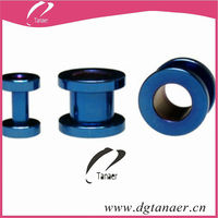 Anodized Deep Blue tunnel design piercing