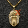 Stainless Steel Gold Plated Egyptian Pharaoh Detalied CZ Bling Pendant